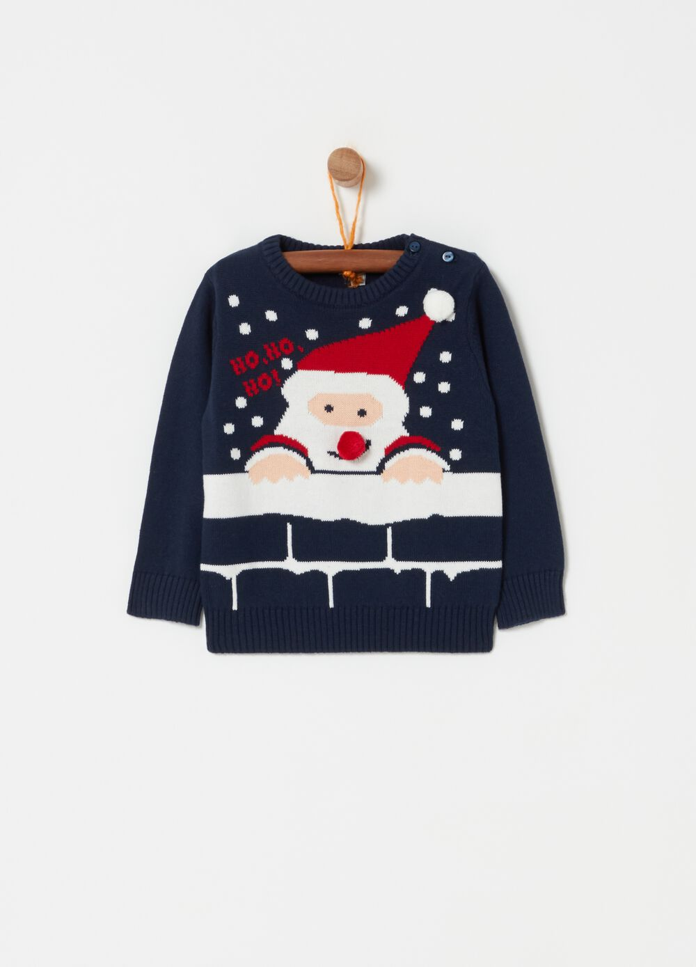 Knitted crew-neck top with Father Christmas embroidery