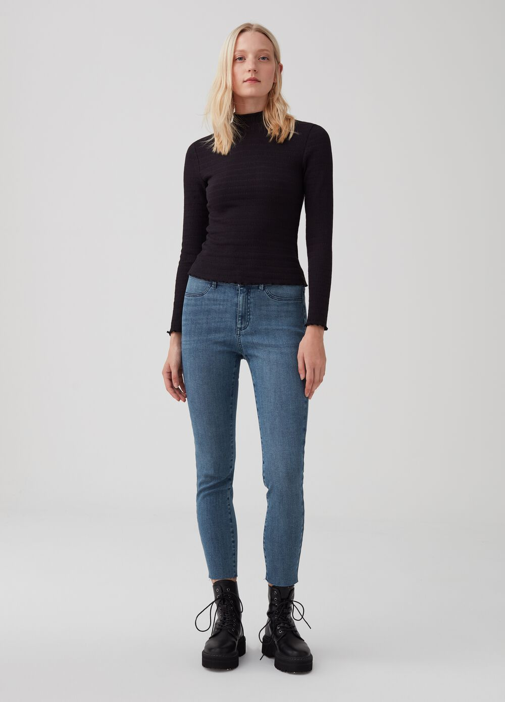 Jeans skinny fit stretch effetto glitter