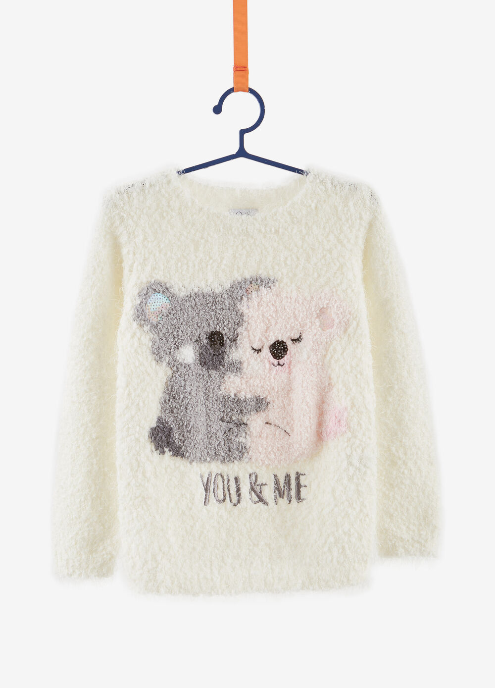 Faux fur sweatshirt with embroidery