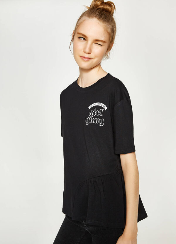 T-shirt with print and flounce