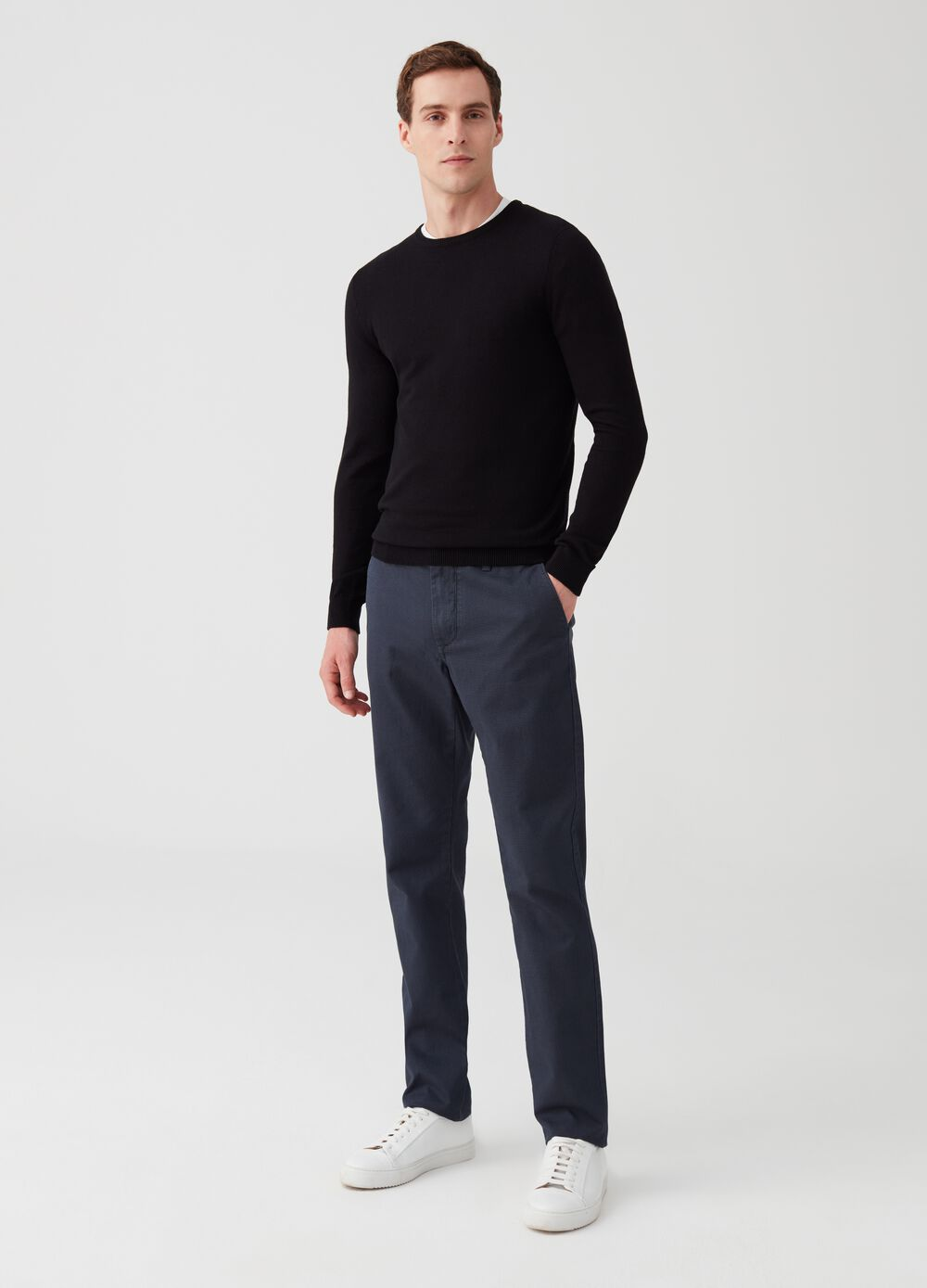 Regular-fit check chino trousers with micro check pattern