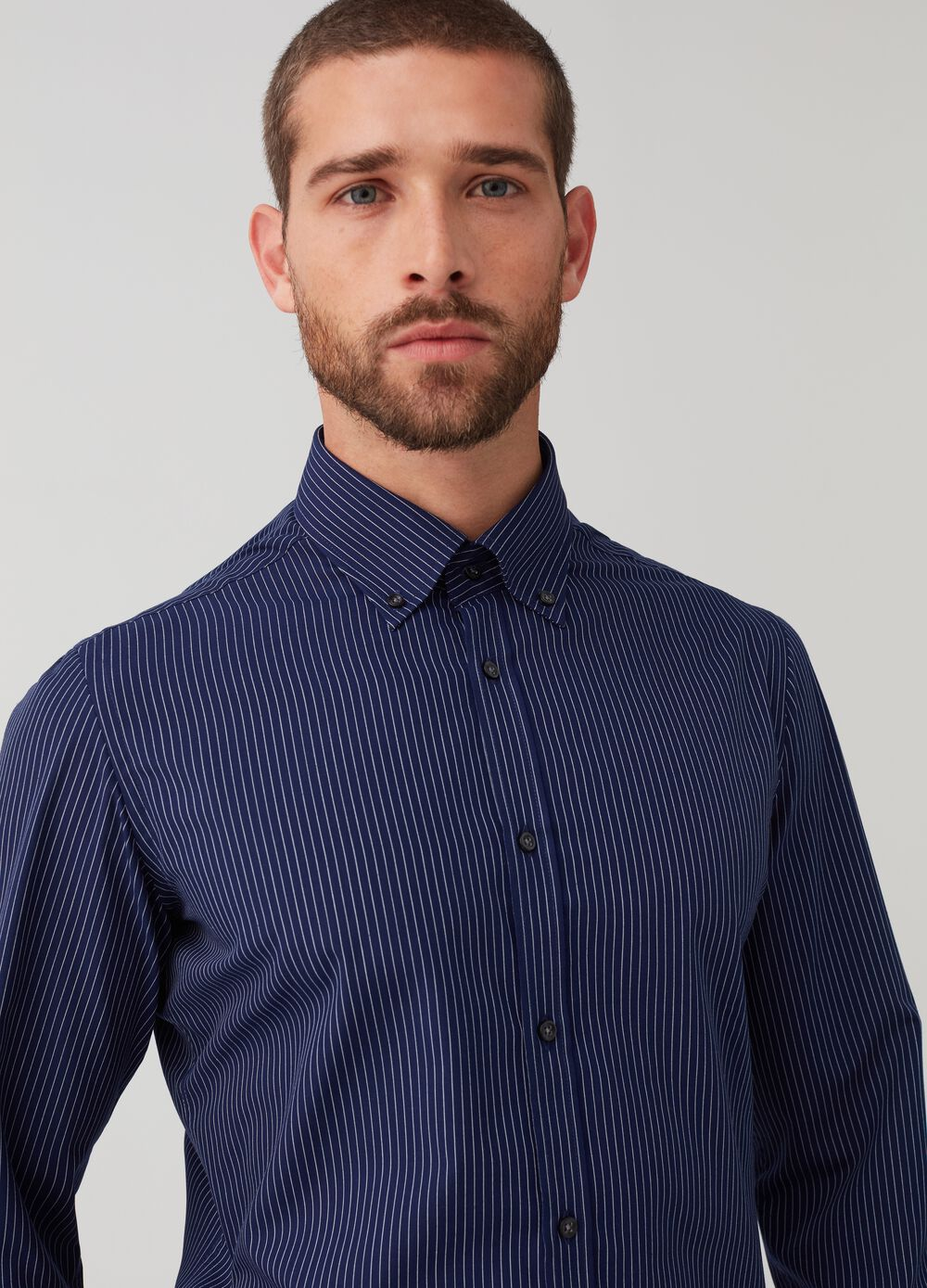 Slim-fit button-down shirt with stripes
