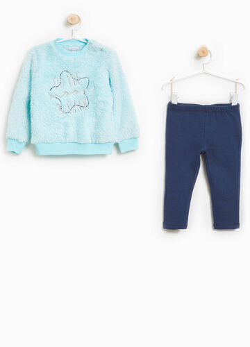 Fur tracksuit with embroidery
