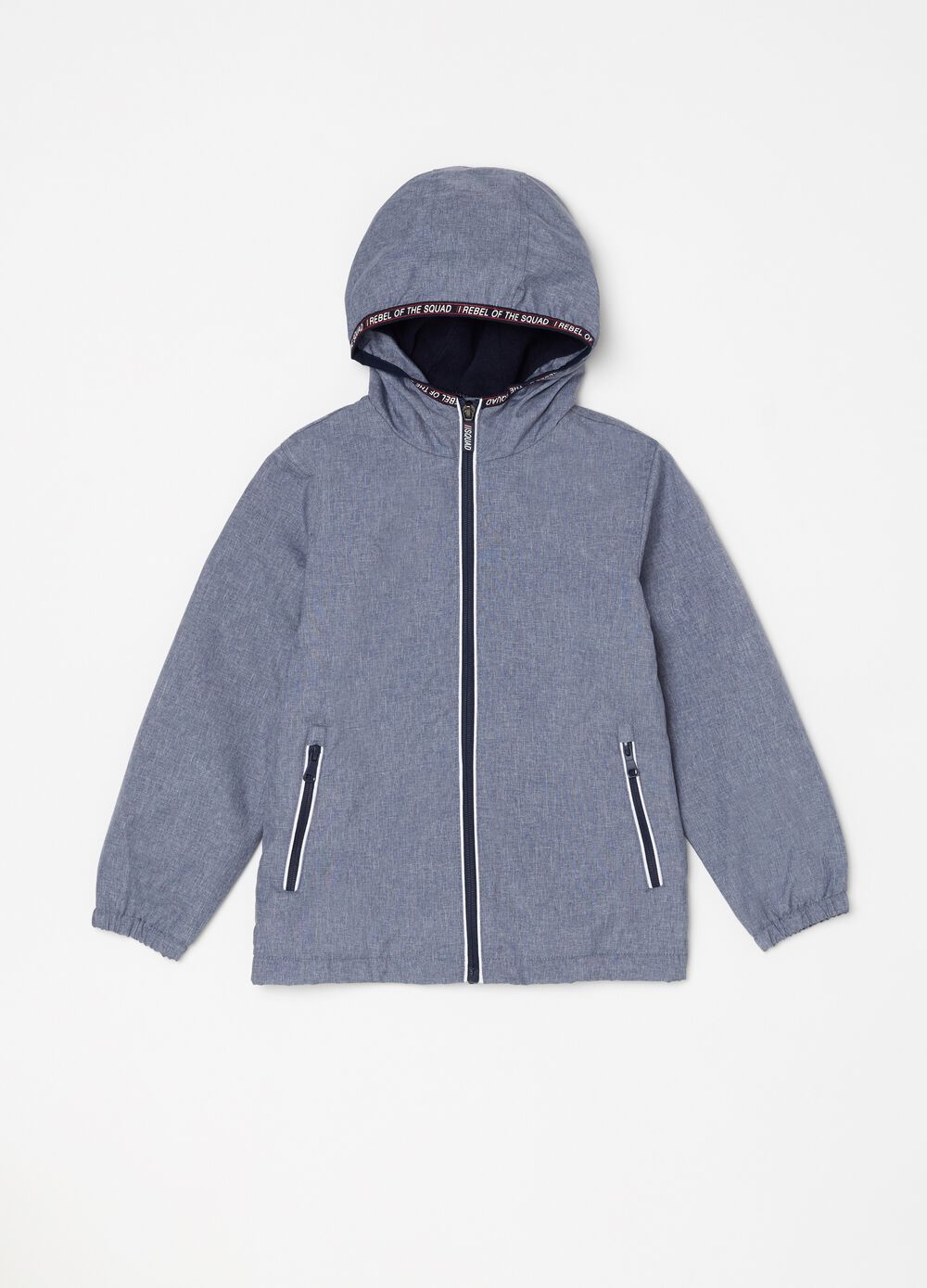Lightweight jacket with high mélange neck