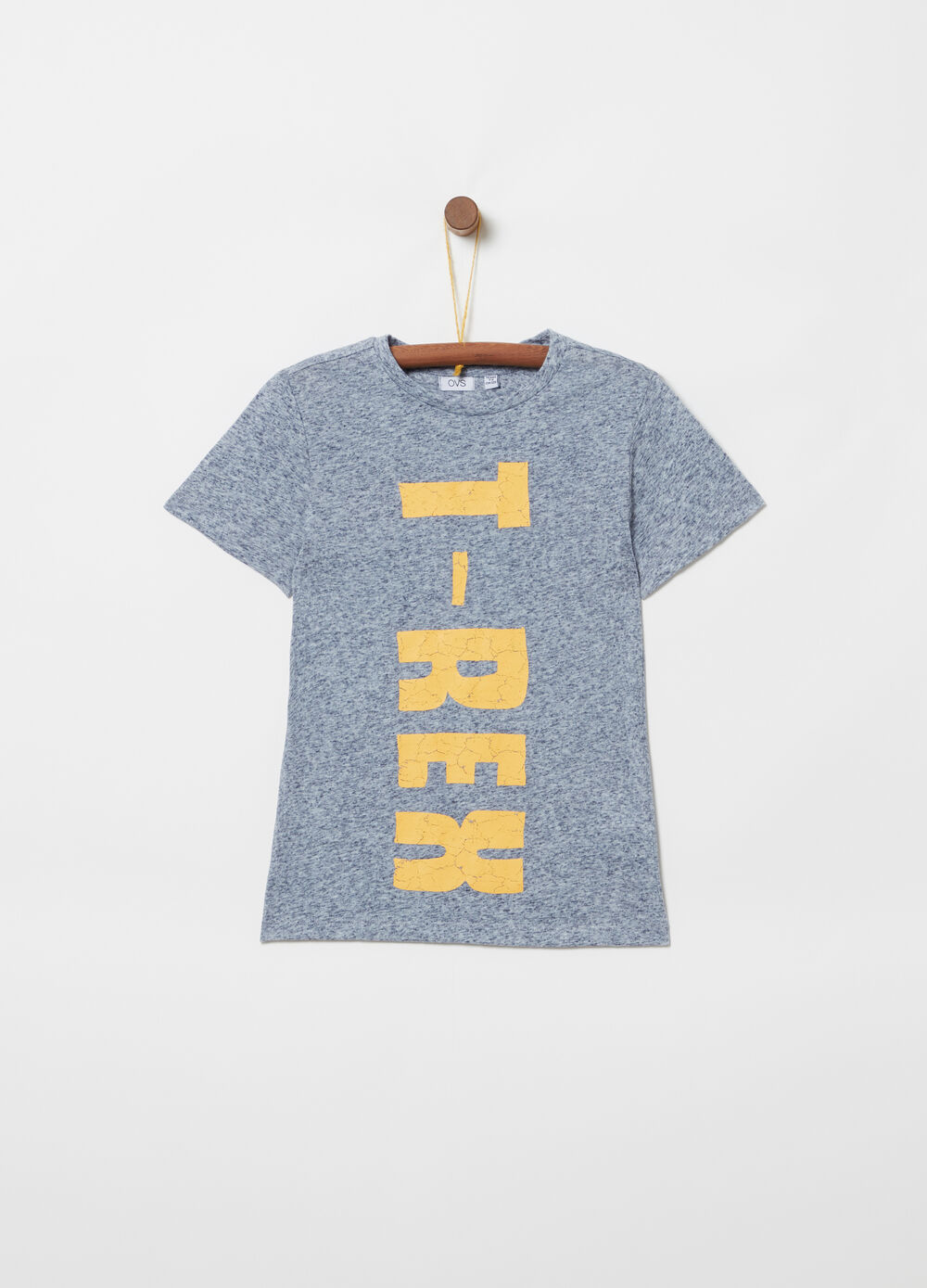 Mélange T-shirt with lettering print