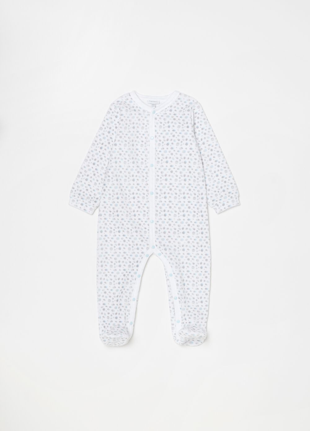 Onesie with feet and macro polka dot print