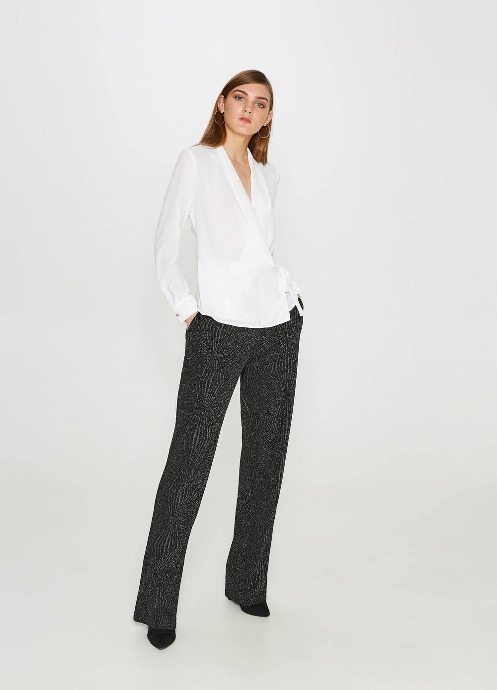 Curvy stretch trousers with lurex