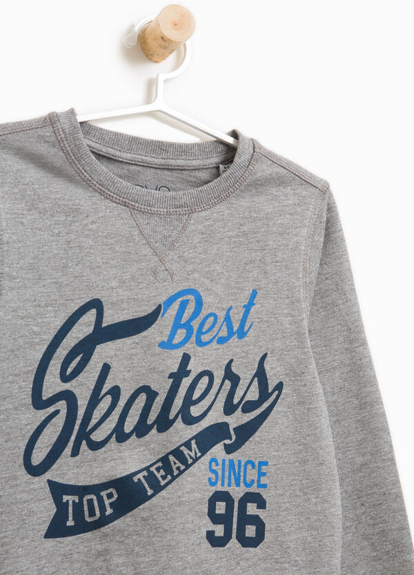 Sweatshirt with round neck and printed lettering | OVS