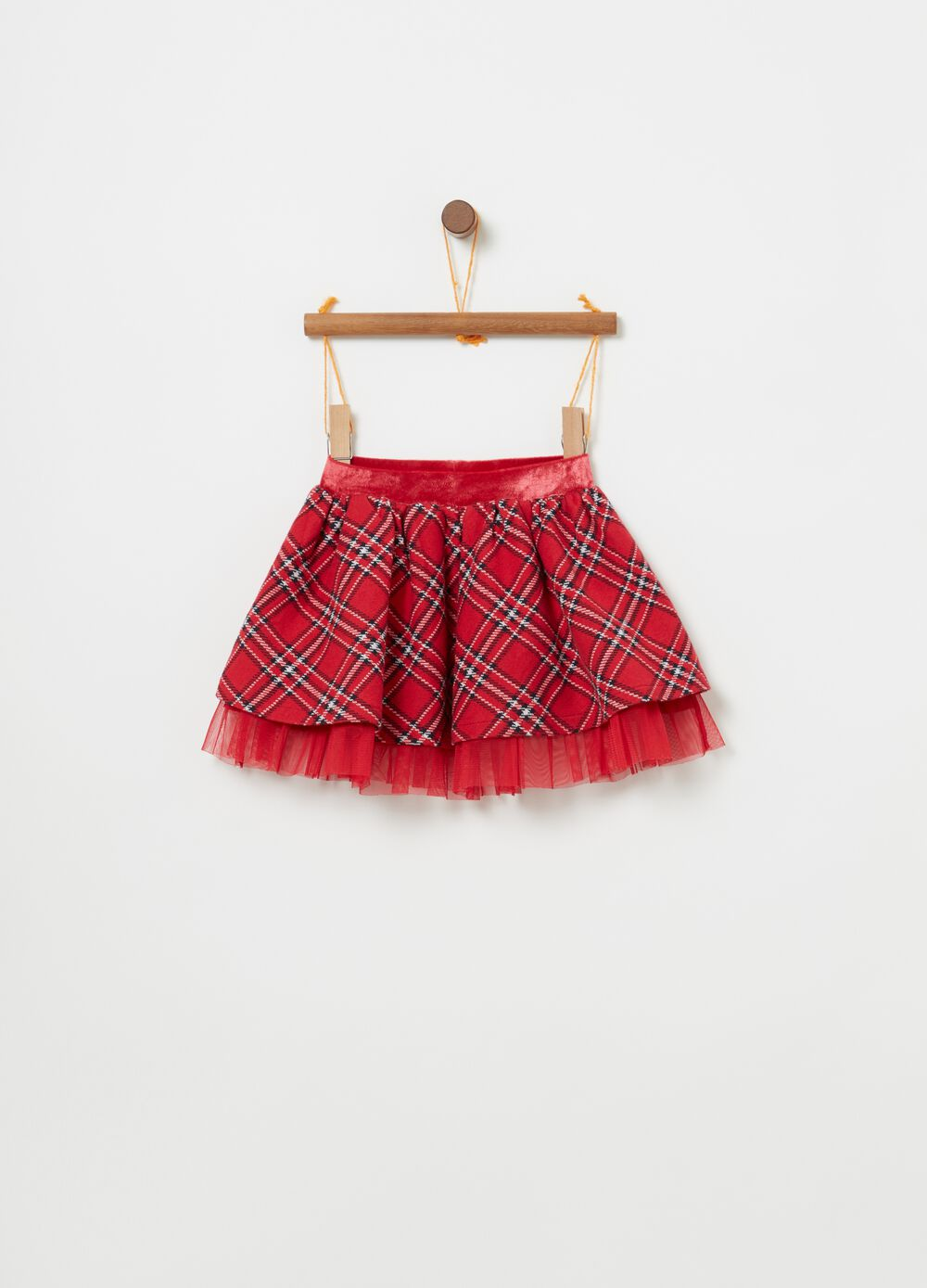Skirt with lurex tulle and check pattern