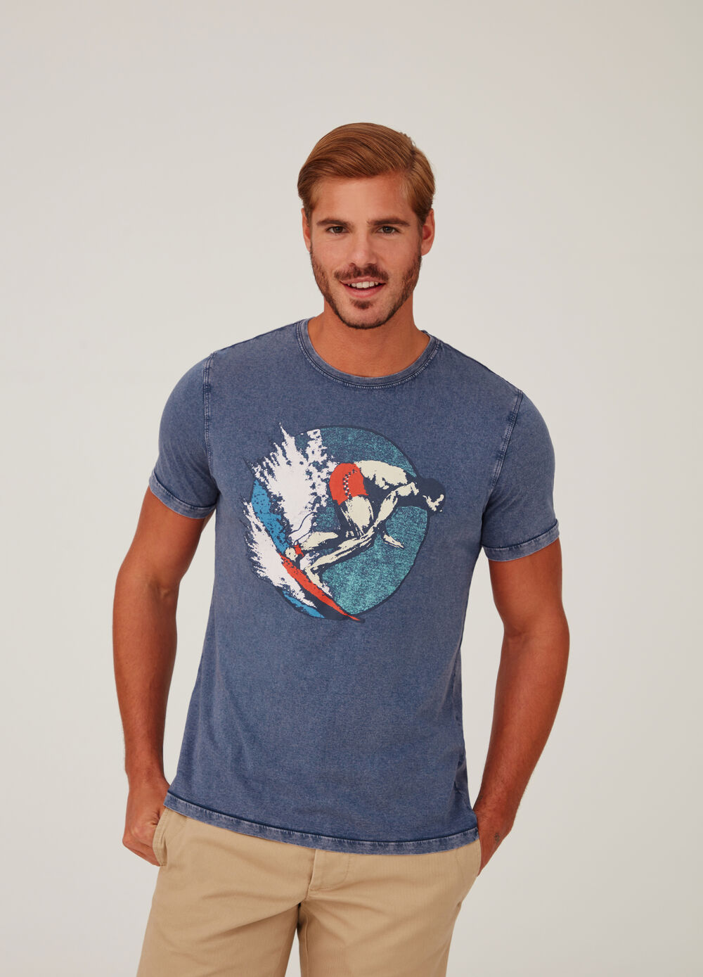 T-shirt jersey effetto vintage con stampa
