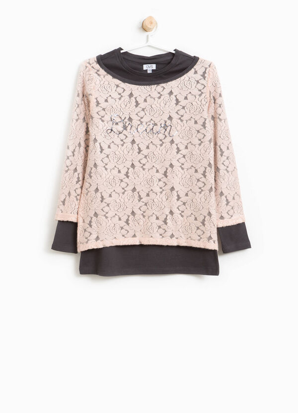 Lace T-shirt with sequins | OVS