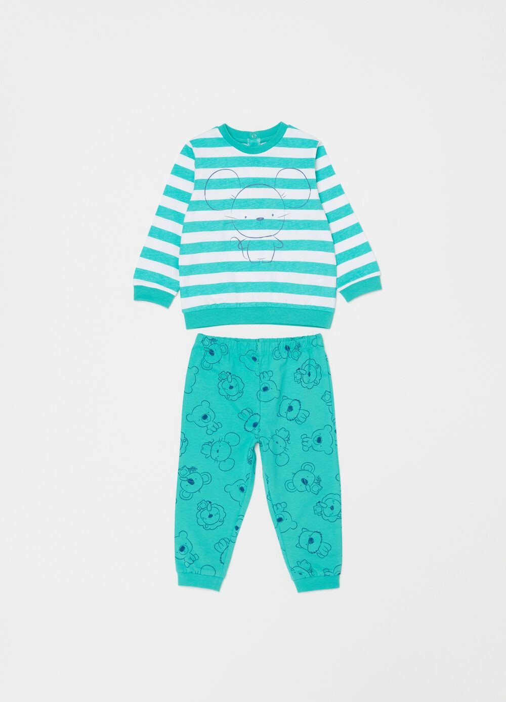 Pyjamas with striped pattern and mouse print