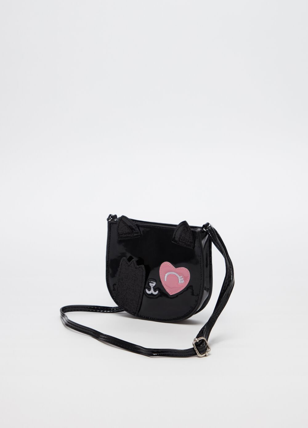 Small patent-effect shoulder bag