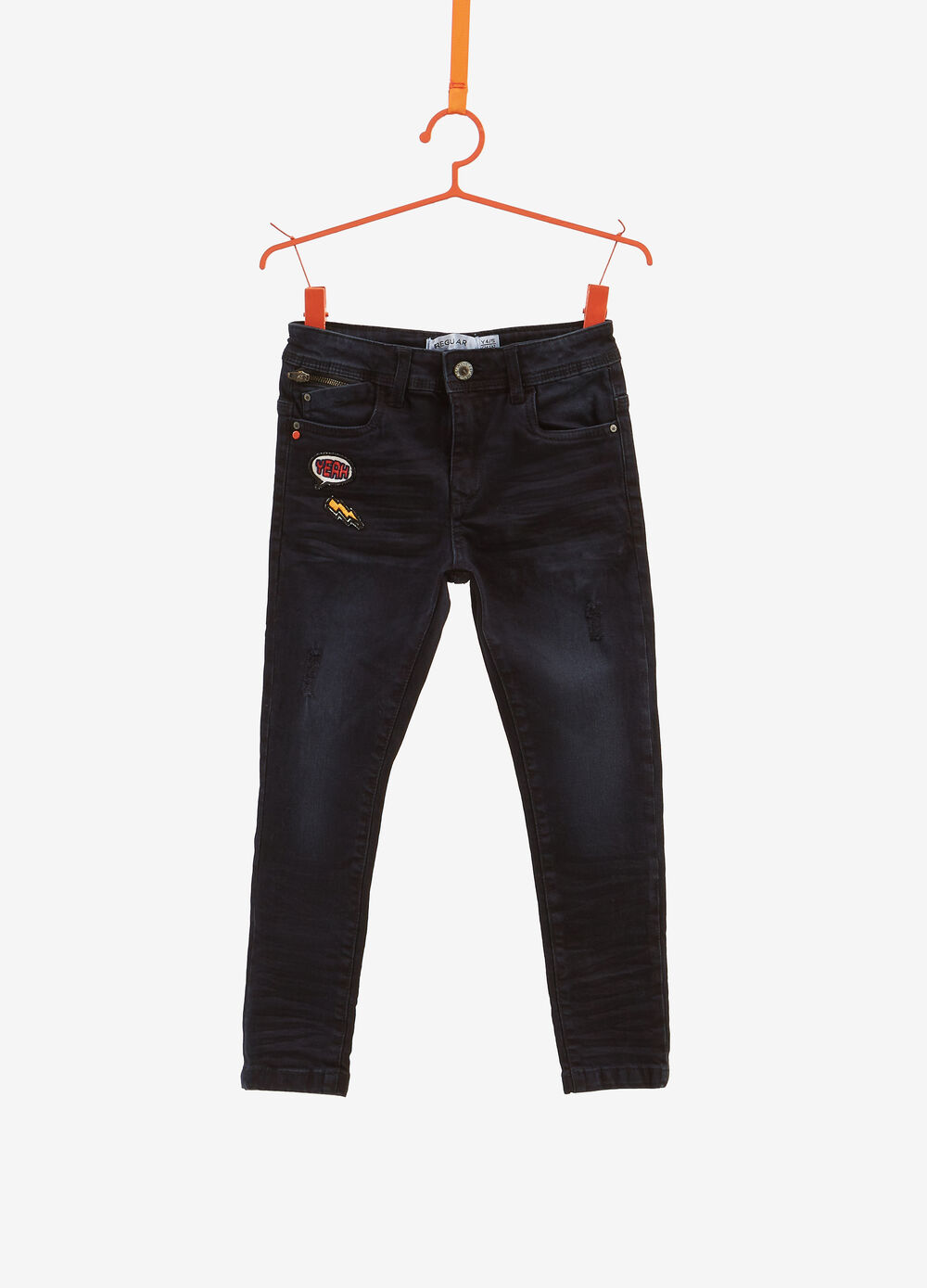 Regular-fit stretch worn-effect jeans with patches