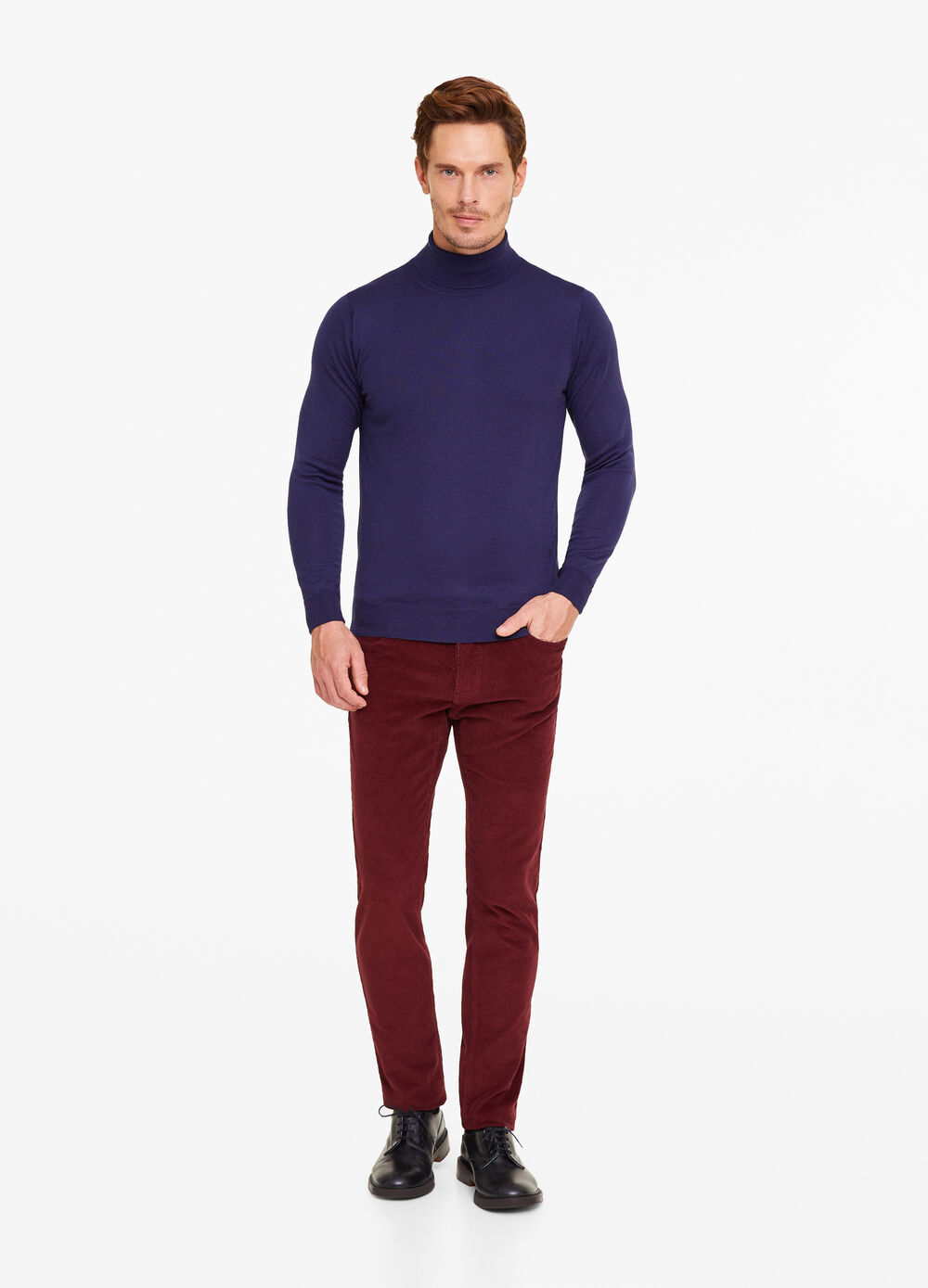 Merino wool blend pullover with high neck