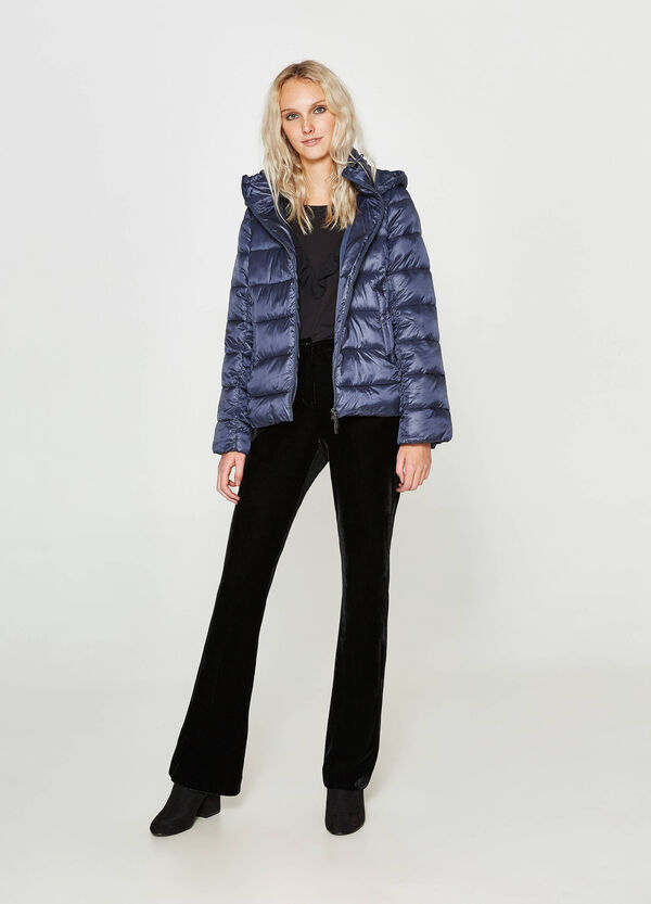 Down jacket with hood and high neck