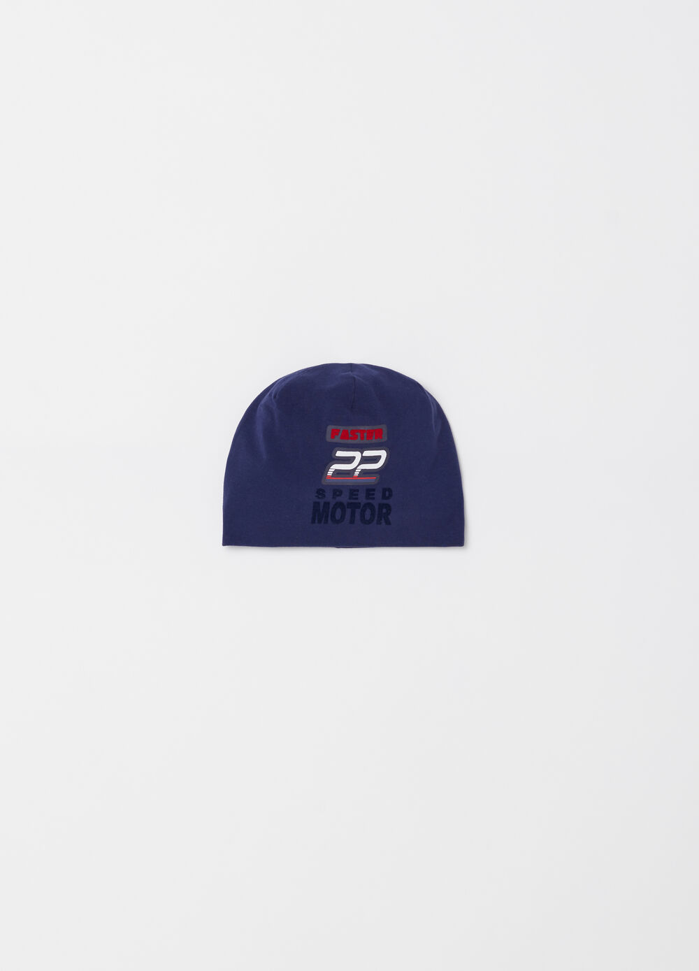 Jersey cap with print and applications