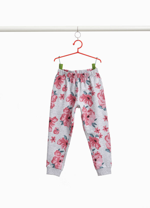 Floral stretch cotton trousers