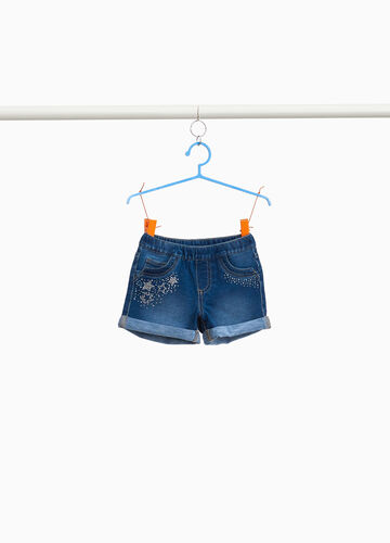 Shorts di jeans stretch strass stelle