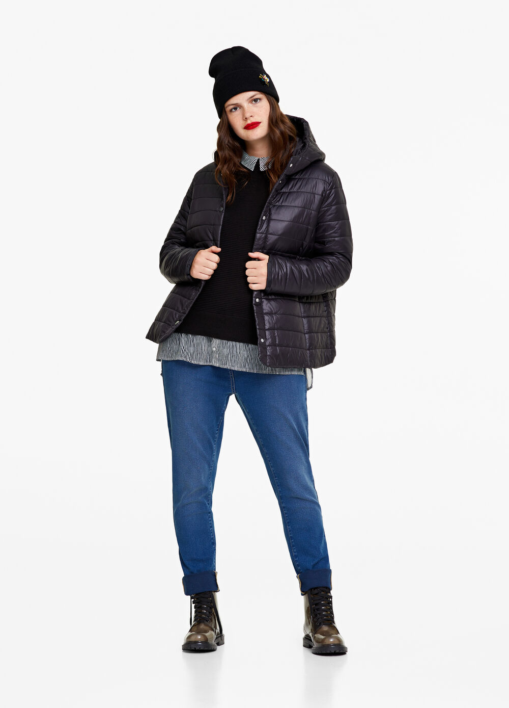Curvy solid colour ultra-light down jacket