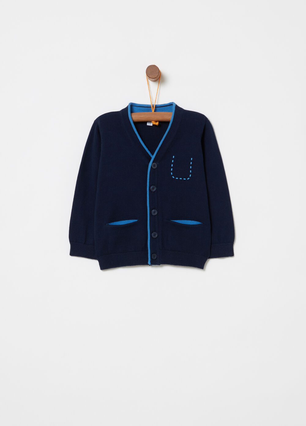 Cardigan with V neck and welt pockets