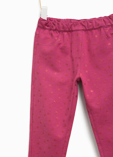 Trousers with glitter polka dot pattern