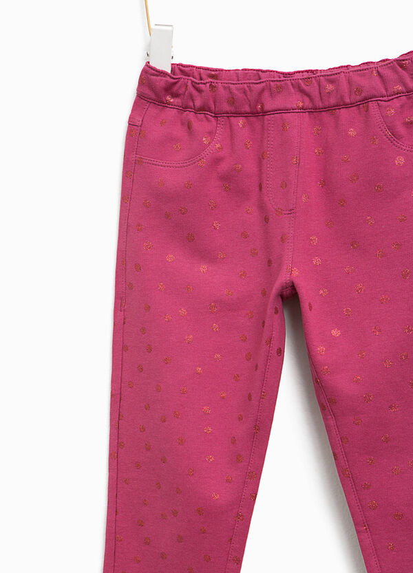 Trousers with glitter polka dot pattern | OVS