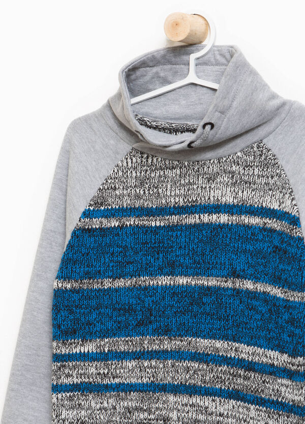 Knitted cotton pullover with striped print | OVS