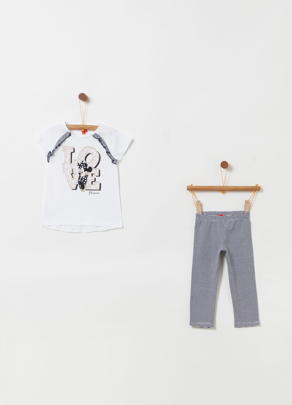Disney jogging set with glitter top and striped bottoms