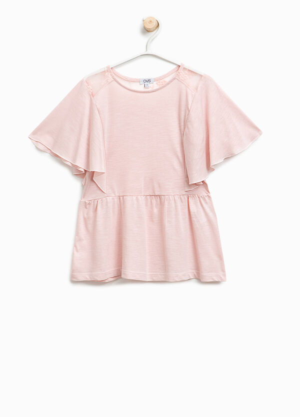Modal and cotton T-shirt with lace | OVS