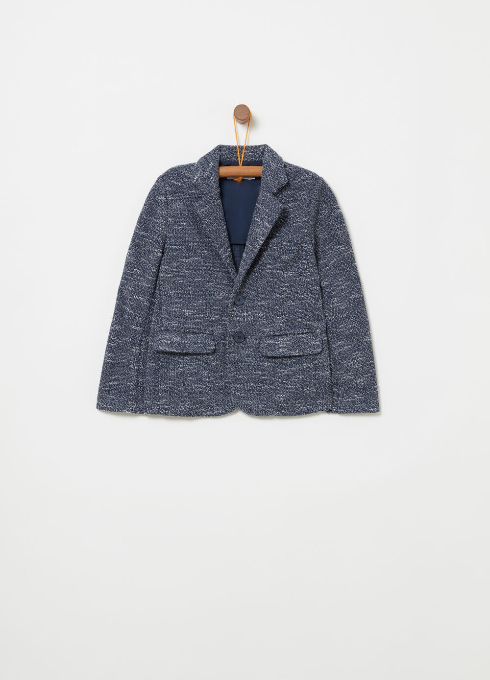 Elegant jacket with knitted lapels