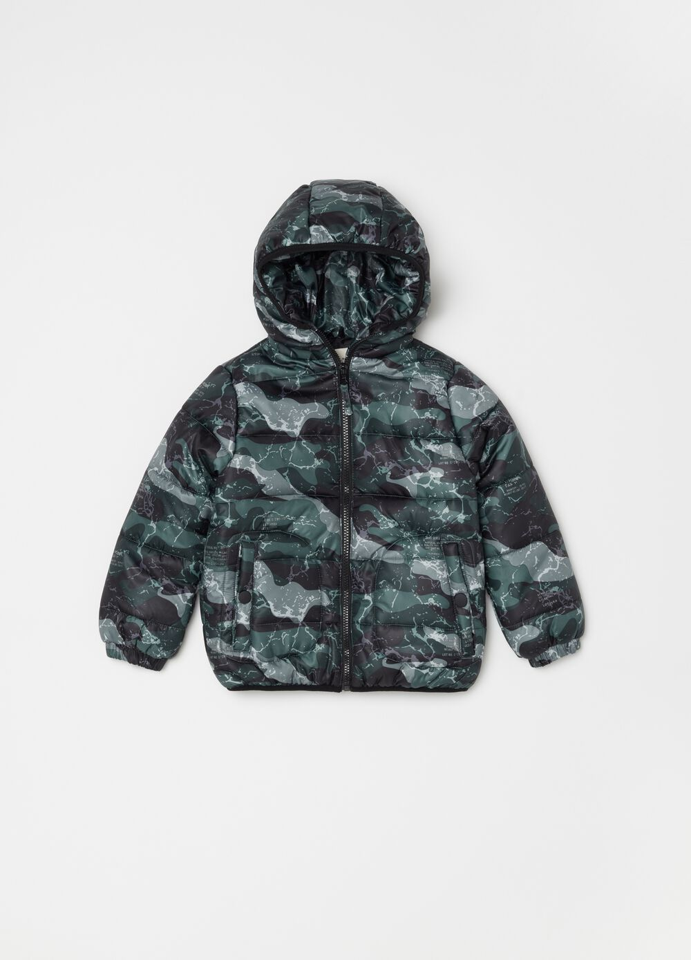 Patterned and printed padded bomber jacket