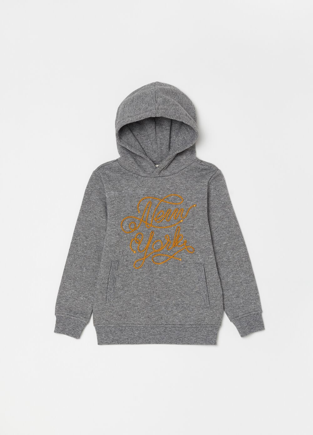 Mélange sweatshirt with lettering embroidery