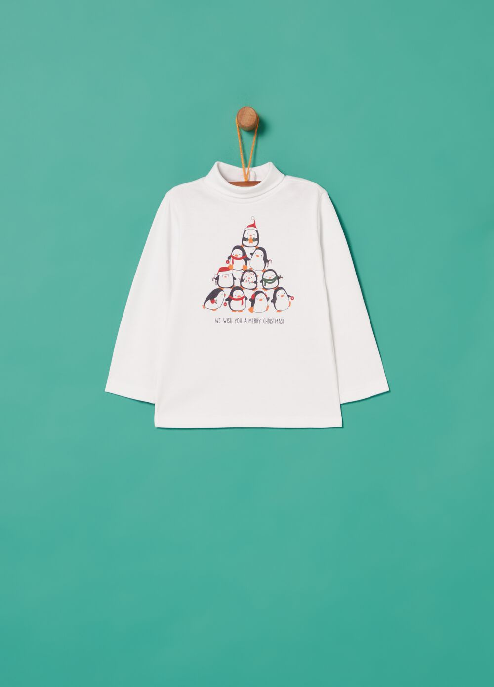 100% cotton T-shirt with Christmas penguins