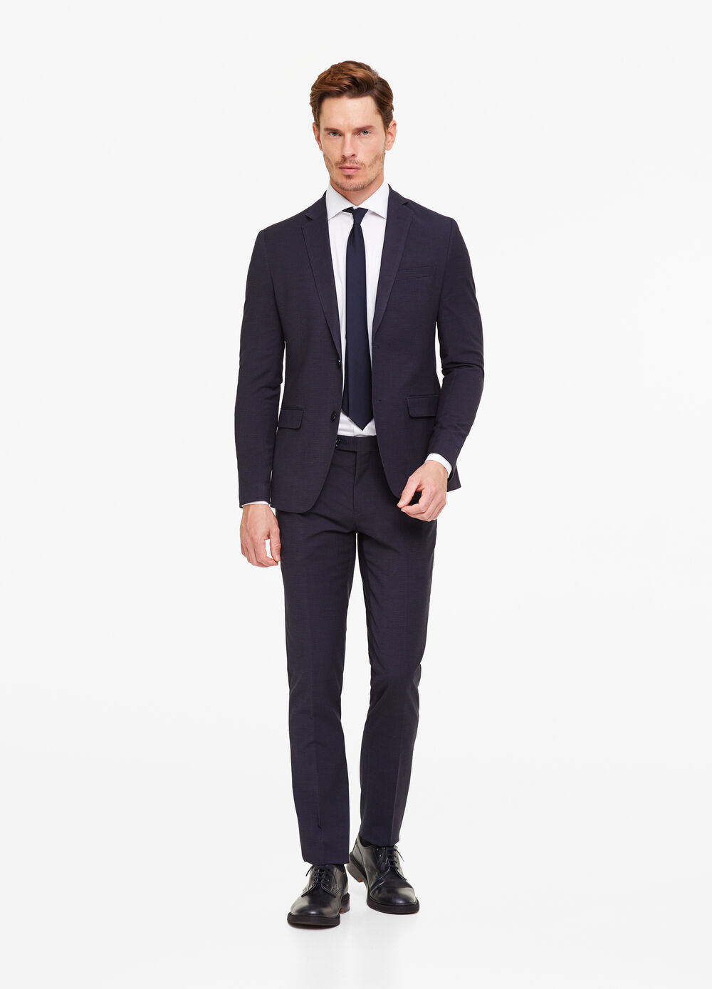 Micro check patterned suit