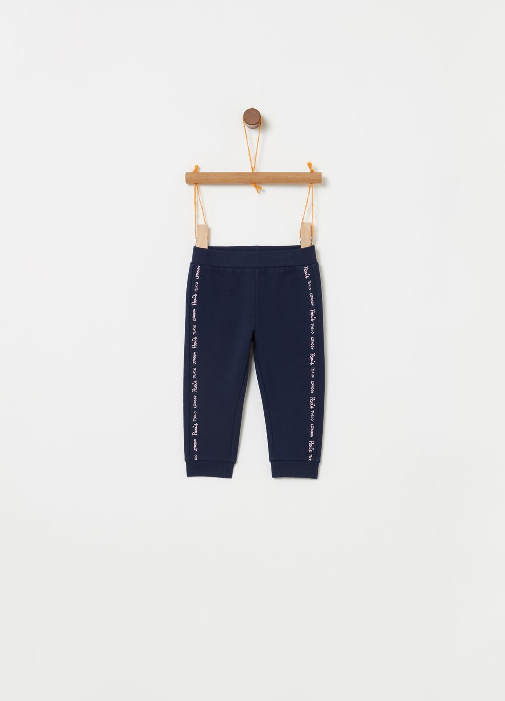 Stretch cotton trousers with lettering