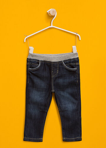 Washed-effect jeans with elasticated waist