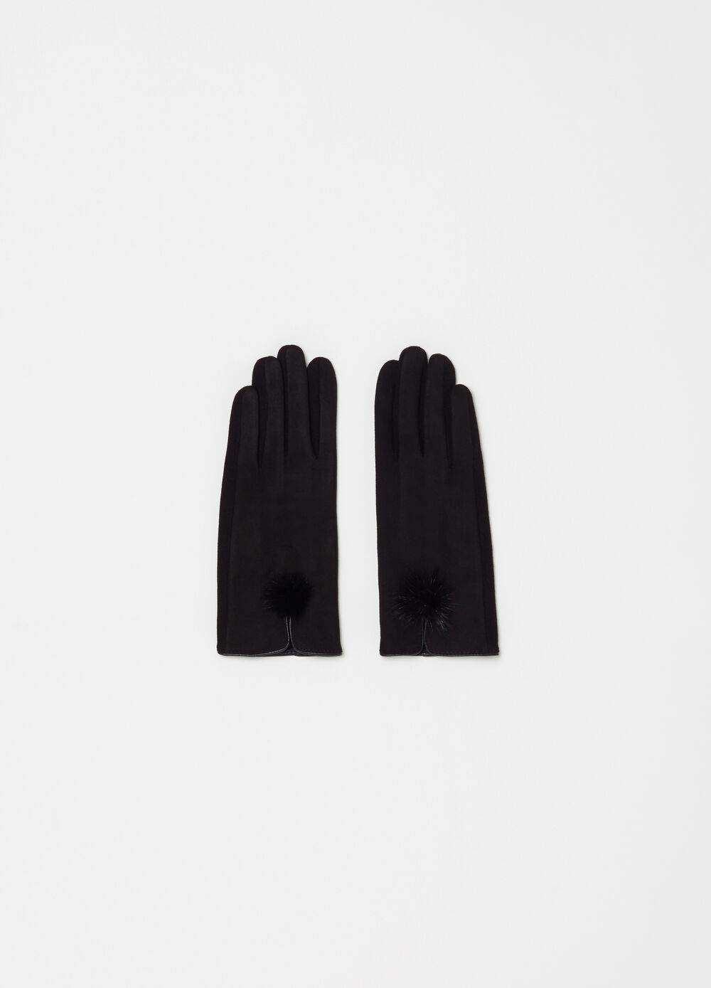Touchscreen gloves in fabric and pompom