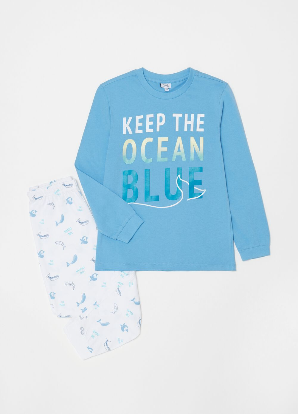 Long pyjamas with whale pattern