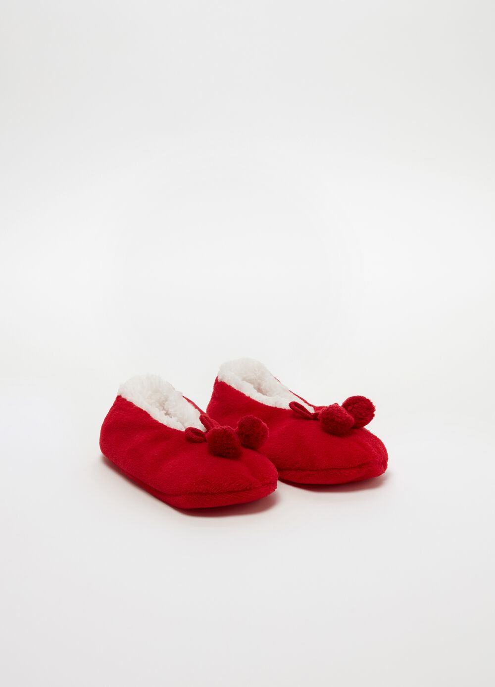 Fur-effect slippers with pompoms