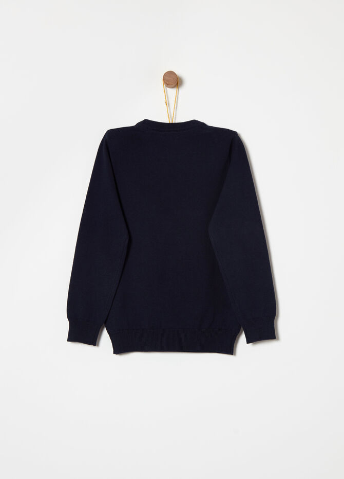 Cotton pullover with weave on the shoulders