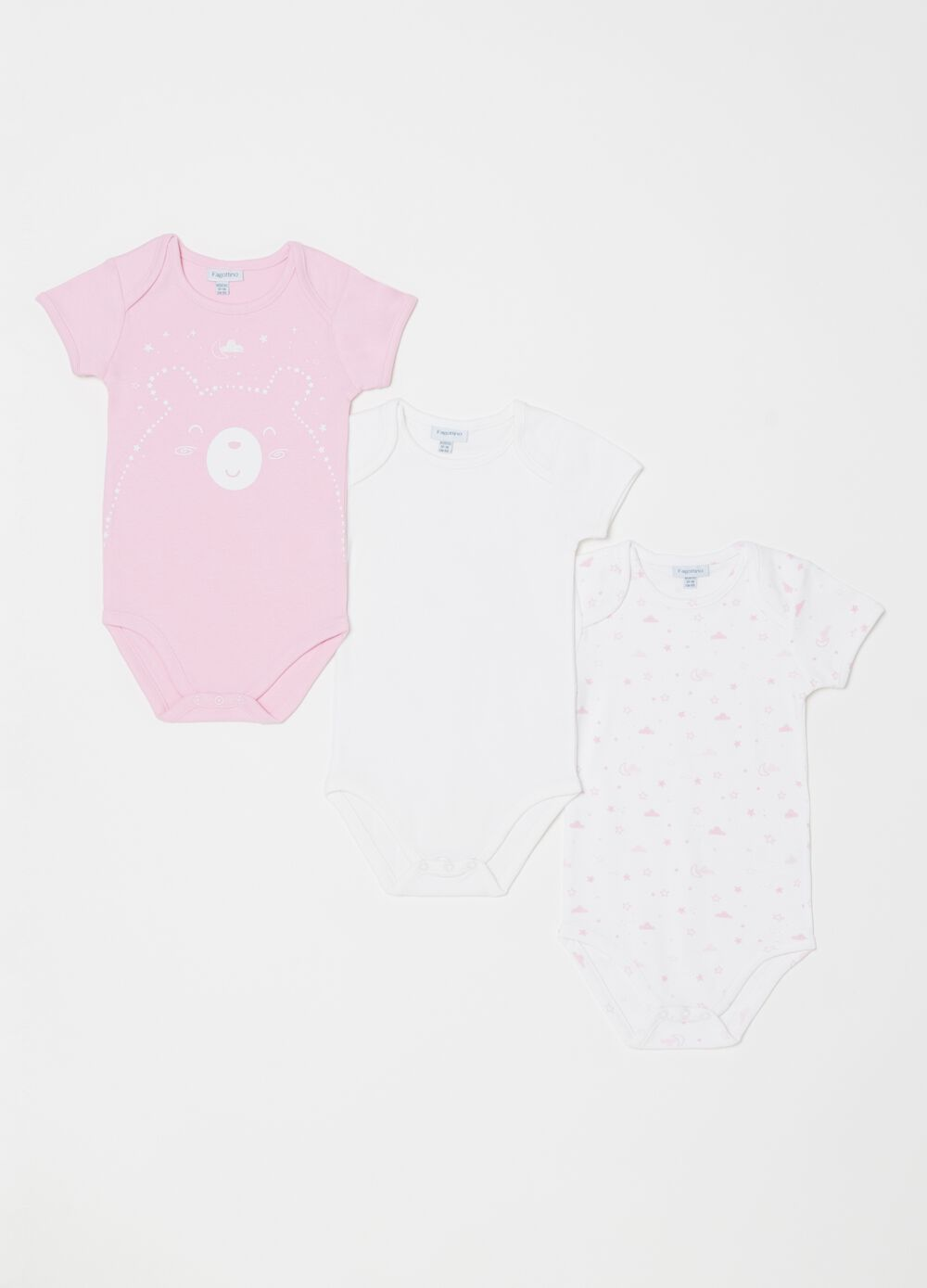 Three-pack 100% biocotton bodysuits with round neck