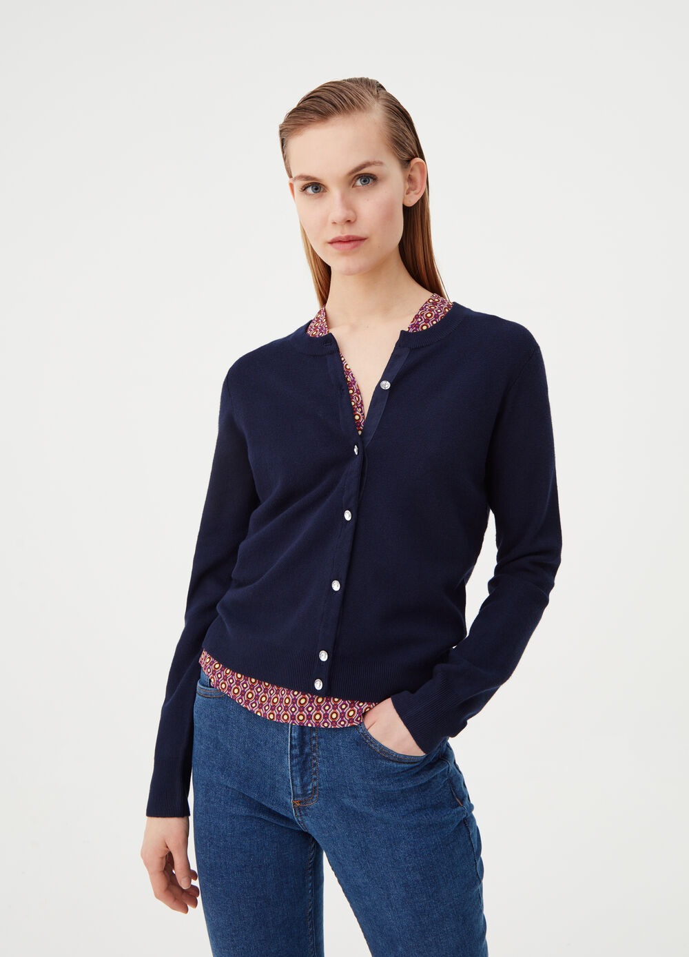 Cardigan with jewel buttons