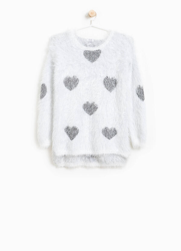 Knitted hearts pullover with asymmetric hem | OVS
