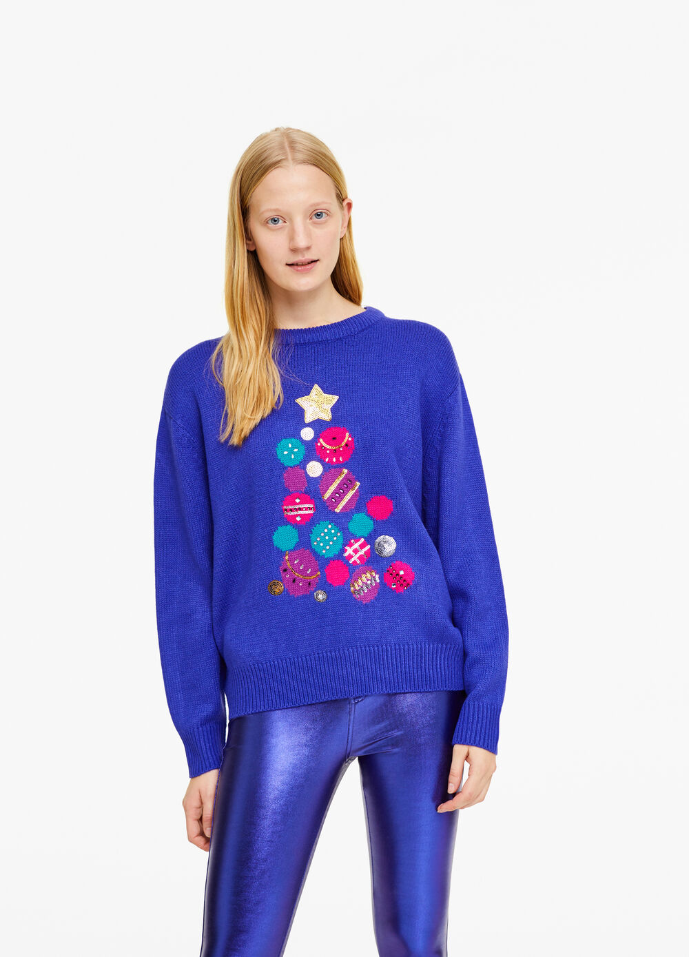 Christmas sweater with diamantés and sequins