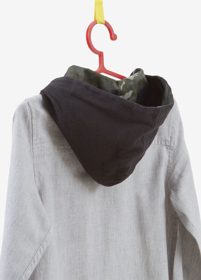 100% cotton shirt with hood and patch