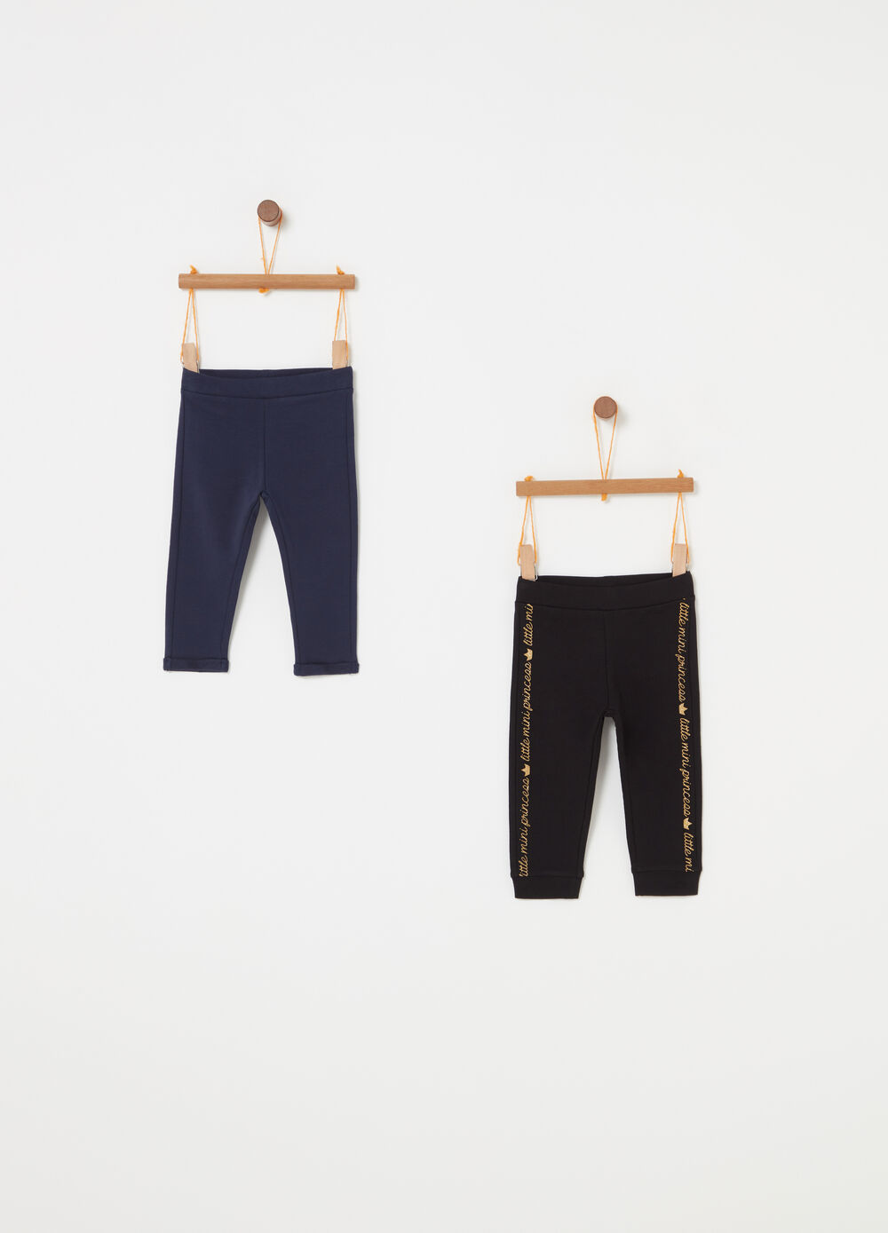 Two-pack French terry trousers with print