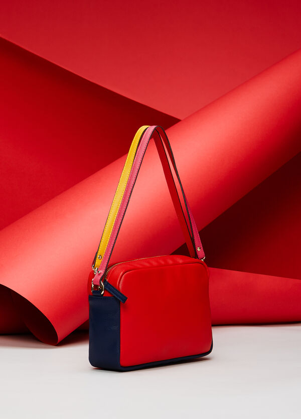 Multi-coloured, saffiano-effect shoulder bag