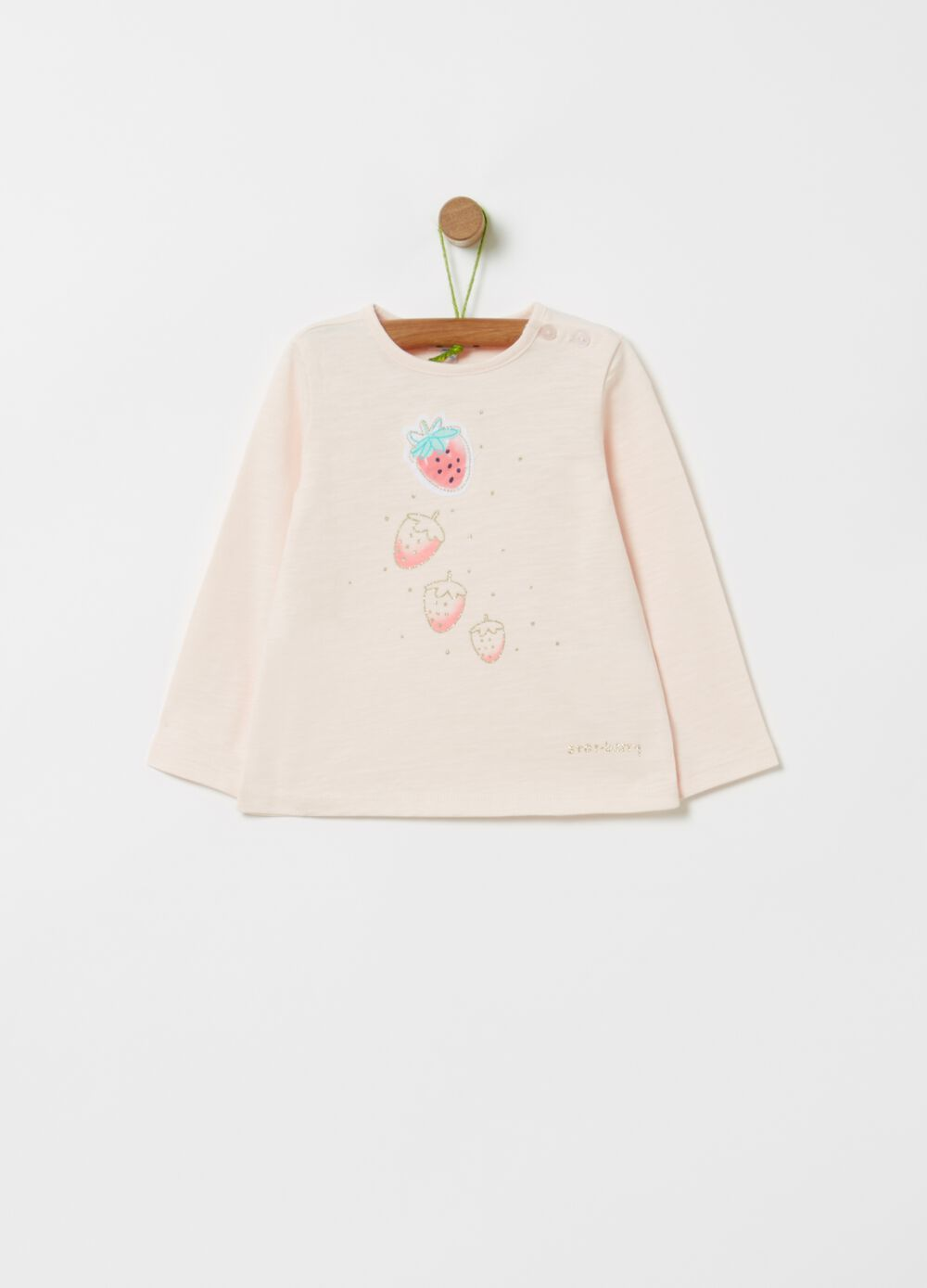 Organic cotton T-shirt with strawberry print