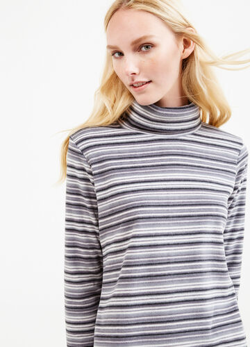 Fleece turtleneck jumper with striped pattern
